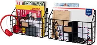 Wall35 Rivista Multipurpose Wall Mounted Farmhouse Design Basket - Wide Magazine Rack Metal Wire Set of 2 (Black)