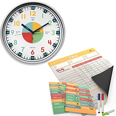 Telling Time Teaching Clock and Magnetic Reward Chore Chart – Building Kids Confidence to Understand Time & Responsibility, Increasing Parents Nag Free Time.