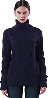 Women's Turtleneck Sweater Long Sleeve Cable Knit Sweater Pullover Tops