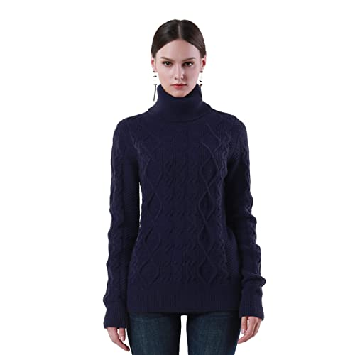 PrettyGuide Women s Turtleneck Sweater Long Sleeve Cable Knit Sweater  Pullover Tops ef9b3d858