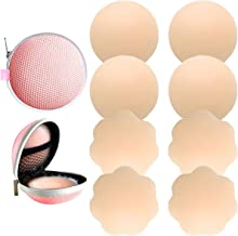 4 Pairs Womens Reusable Adhesive Nipple Covers Invisible Round Silicone Cover (4 Assorted)