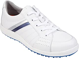 Southport Men's Golf Shoes Spiked SX0811 (White/Silver/Blue, 7)