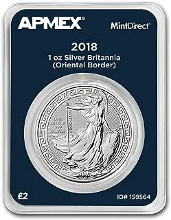 2018 UK GB 1 oz Silver Britannia Oriental Border (MintDirect®) 1 OZ Brilliant Uncirculated