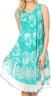 Sakkas Marlena Women's Swing Sleeveless Tie Dye with Batik Nightgown Dress Cover