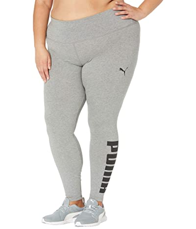 PUMA Plus Size Athletic Logo Tights (Medium Gray Heather/PUMA Black) Women