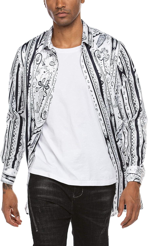 MAXMODA corte regular Camisa de manga larga para hombre con estampado de cachemira