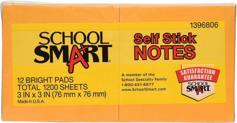 Schule smart abnehmbarer selbst Stick Notes – 7,6 x 7,6 cm – 12 Pads von 100 Blatt – Sortiert Brights B0062TOBLM | Lebendige Form
