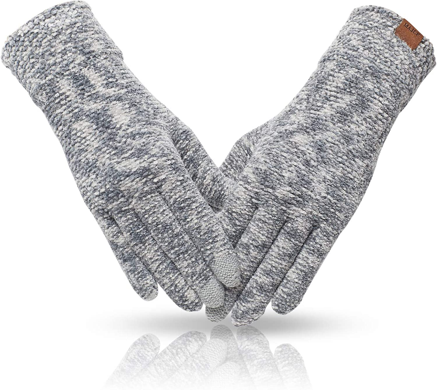 MAJCF Winter Gloves for Women Cold Weather,Warm Touch Screen Gloves Chenille,Elastic Cuff Thermal Gloves for Running Driving