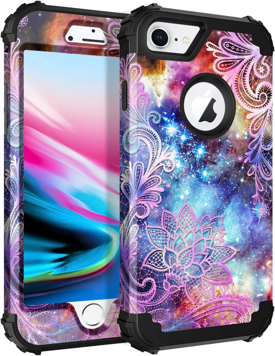 Casetego Compatible with iPhone 8 Case,iPhone 7 Case,Floral Three Layer Heavy Duty Hybrid Sturdy Shockproof Full Body Protective Cover Case for Apple iPhone 8/7,Purple Mandala