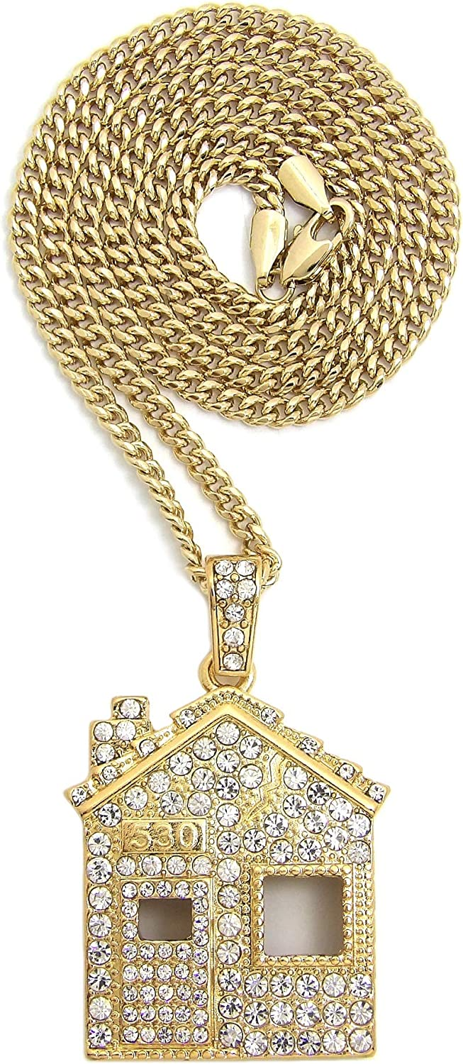 BLINGFACTORY Hip Hop Iced Gold Plated Trap House Pendant & 24