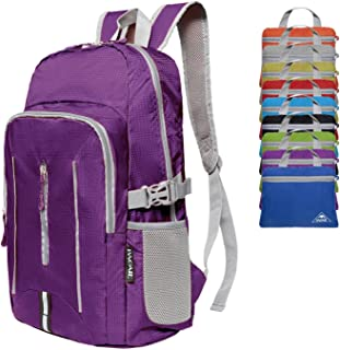 Bagail 25L Ultra Lightweight Packable Daypack Durable Waterproof Travel Hiking Backpack Purple