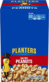 Planters Salted Peanuts Single Serve Packets, 2.5 Ounce, Pack of 15