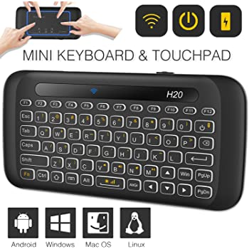 HTPC JXH Wireless Chargeable Bluetooth Touch Keyboard,Ergonomic Design Smart TV Compact and Light Weight,for PC Android TV Box Etc. Notebook
