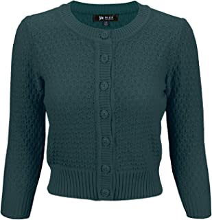 Women's 3/4 Sleeve Crewneck Cropped Button Down Knit Cardigan Sweater (S-3X)
