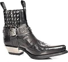 House of Luggage Bottes de Cowboy en Cuir V/éritable pour Homme Talon Western Longueur du Mollet Bout Pointu Chaussures HLG03CA