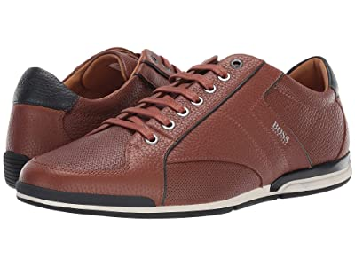 BOSS Hugo Boss Saturn Low Profile Leather Sneaker by BOSS (Medium Brown) Men