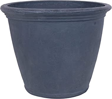 Sunnydaze Anjelica Flower Pot Planter - Outdoor/Indoor Unbreakable Double-Walled Polyresin with UV-Resistant Slate Finish - Single - Large 24-Inch Diameter