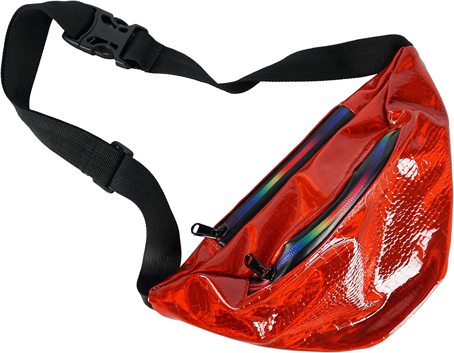 Home-X Red Holographic Fanny Pack, Running Belt, Waterproof Bum Bag with Pockets