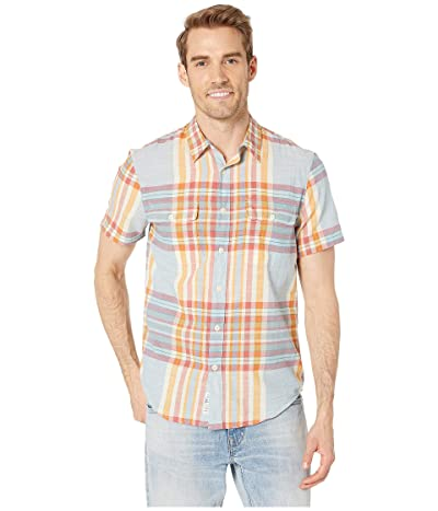 Lucky Brand Short Sleeve Madras Plaid Shirt (Blue/Orange) Men