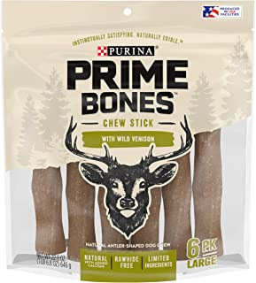 Purina Prime Bones Natural Dog Treats Made in USA Limited Ingredient Rawhide Free Wild Venison Chew Stick