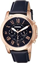 Fossil Men's Grant Stainless Steel and Leather Chronograph Quartz Watch