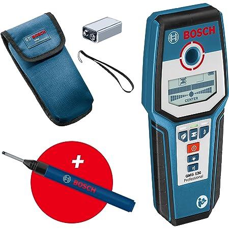 Bosch Professional digitales Ortungsgerät GMS 120 (Bohrlochmarker, max. Detektionstiefe Holz/Eisenmetalle/Nichteisenmetalle/spannungsführende Leitungen: 38/120/80/50 mm) - Amazon Exclusive Set