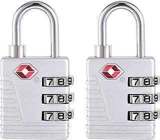 uxcell TSA Approved Luggage Locks 3-Digit Combination Travel Padlock Zinc Alloy Silver Tone 54x27x13mm 2Pcs
