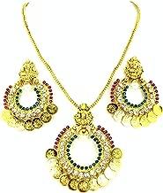 Arras Creations Authentic Designer Indian Ram Leela Coin Polki Pendant Set for Women / AZINRL003-GML