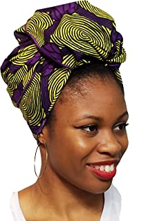 Yellow and Purple African Print Ankara Head wrap, Tie, scarf, Multicolor, One Size