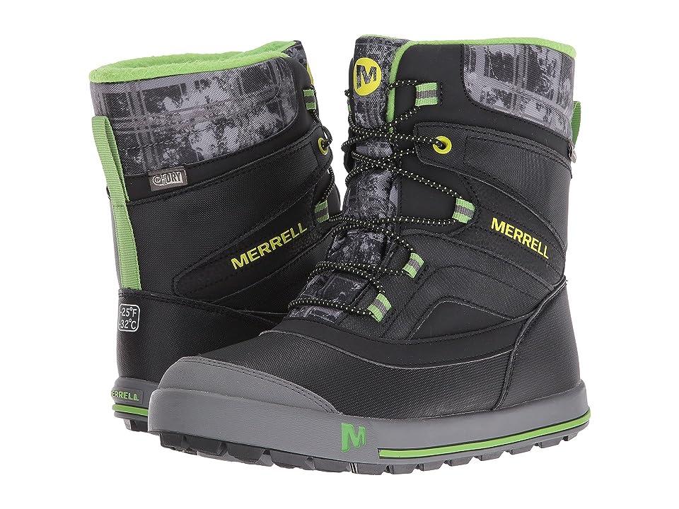 Merrell Kids Snow Bank 2.0 Waterproof (Big Kid) (Black/Grey/Green Leather) Boys Shoes