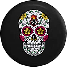 Sugar Skull Pink Green Yellow Heart Spare Tire Cover fits SUV Camper RV Accessories Black 32 in