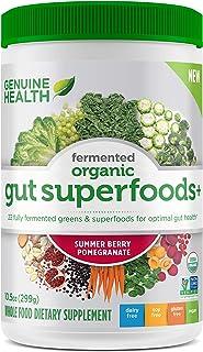 Genuine Health Fermented Organic Gut Superfoods+, Summer Berry Pomegranate, Vegan Superfoods Powder, 10.5oz Tub, 23 Servings
