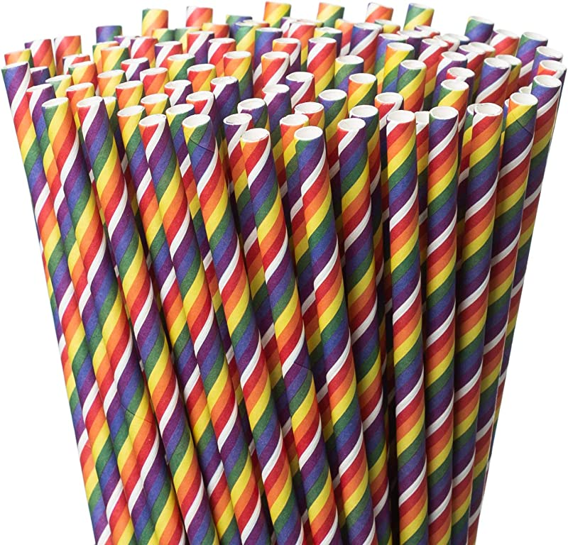 Paper Straws Biodegradable Drinking Straws 200 Pack Rainbow Color Pride Party Straws Practical Eco Friendly FDA Food Grade Material Ideal For Parties Everyday Home Use