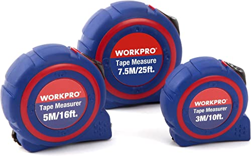 high quality WORKPRO W002400A 3-piece new arrival Tape Measure online sale Set, Metric and SAE Quick Read (3m/10ft, 5m/16ft, 7.5m/25ft) online
