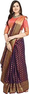 EthnicJunction Booti Work Zari Butta Banarasi Silk Saree With Zari Thread Work Unstitched Blouse Piece(EJ1178-7990,Plum Maroon)