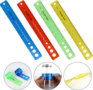 Tugaizi 8 Pieces Flexible Rulers 12 Inch Thick Transparent Ruler Shatterproof Plastic Ruler Soft Straight Rule Dual Side Rulers for Student School Office 4 Colors