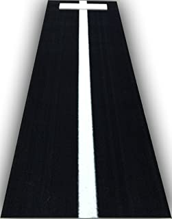 All Turf Mats PBBK3684 3' x 7' Black Softball Pitchers Pitching Mound Mat with Power Line Mark Your Stride Length and Location with Chaulk (Not Included)