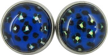 Stainless Steel Butterfly Ballet Dancer Printed Glass Stud Earrings 12mm