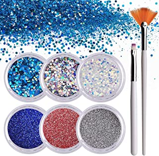 Makartt 6 Boxes Nails Glitter Powder Flakes, Fine Sequin Glitter Powder for Nails, Nail Art Glitter Kit with 1PCS Glitter Nail Flat Brush and 1PCS Fan Brush