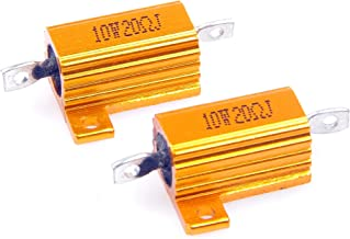 LM YN 10 Watt 20 Ohm 5% Wirewound Resistor Electronic Aluminium Shell Resistor Gold for Inverter LED lights Frequency Divider Servo Industry Industrial Control 2-Pcs