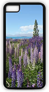 iPhone 7 Case Mountain Lake Wildflowers Vegetation Violet Blossom Blooming Customizable by TYD Designs in Black Plastic Black Rubber Tough Case