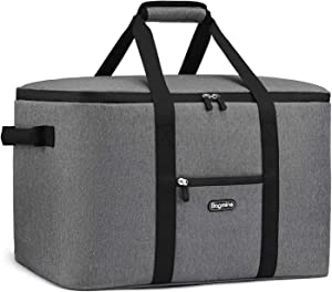 """Bagmine 65 Cans Large Cooler Bag, Soft-Sided Collapsible Car Portable Cooler Bag Leak-Proof Thermal Cooler Tote Bag with Side Handles, Perfect Groceries Bag, 45 Liter, 18.2"""" x 12.3"""" x 12.3"""" Gray"""