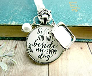 Bridal Bouquet Photo Charm Sister You Walk Beside Me Every Day Wedding White Pendant Memorial Remembrance Silver Finish Photo Jewelry