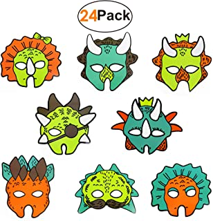 Dinosaur-Masks-Paper-Party-Supplies_Favors Set of 24 Dino Brithday Deorations Accessories for Kids Boys Girls Jurassic World Dragon Themed Birthday Party