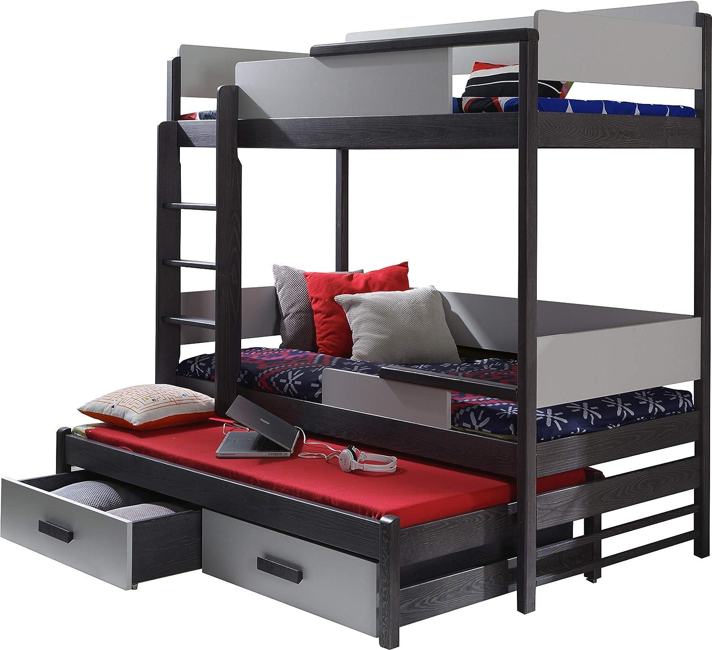 Etagenbett mit 3 Etagen für Kinder - QUATRO - massives Kiefernholz, mit Matratzen und Schubladen - Graphit Grau
