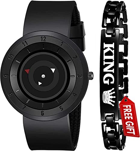 Acnos Brand A Full Black Stailess Steel Case with Uniq Time Presentation Analog Watch with FRE King Bracelet for Mens Watch for Boys Pack of 2