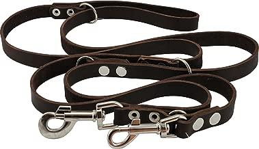Dogs My Love Brown 6 Way European Multifunctional Leather Dog Leash, Adjustable Schutzhund Lead 49