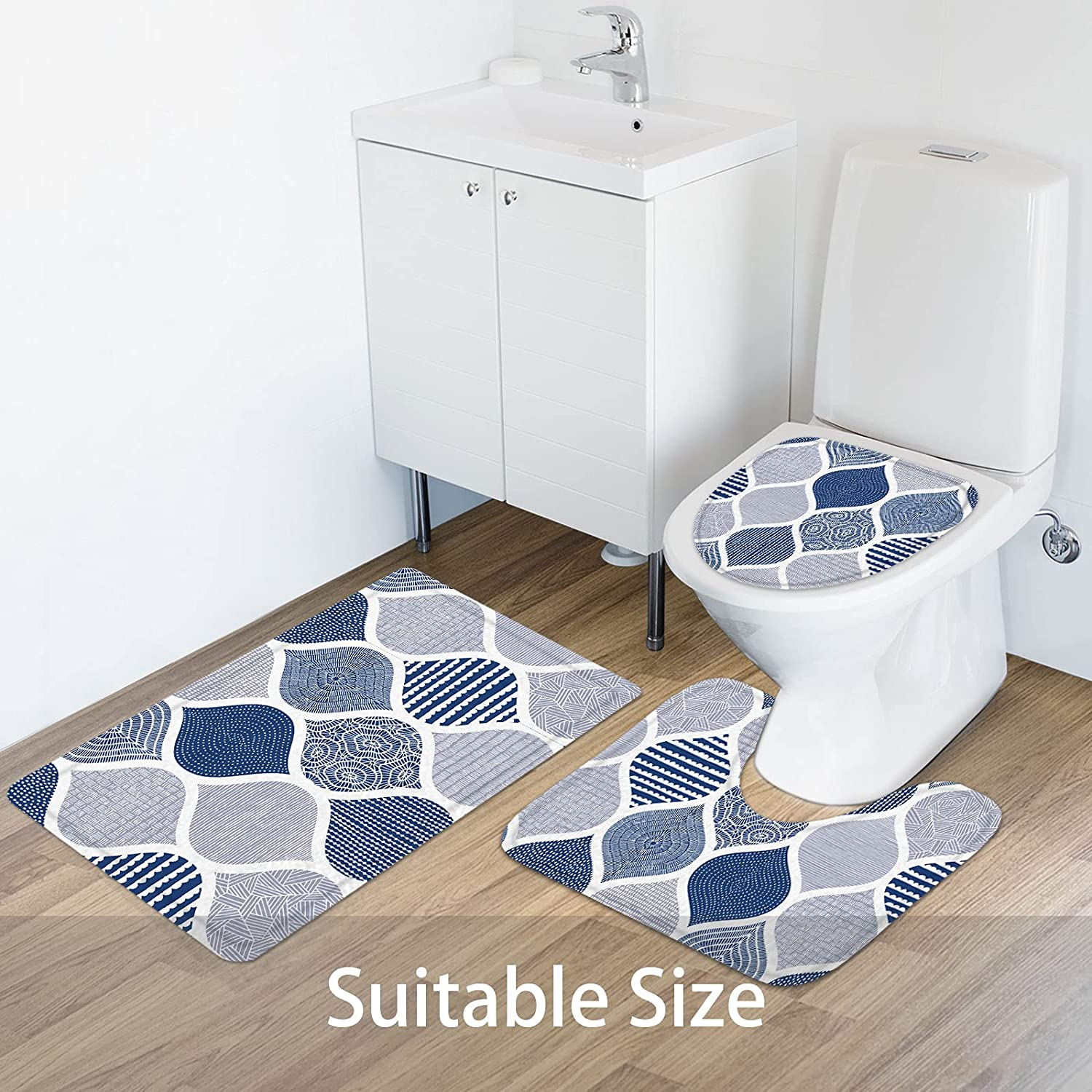 Buy MitoVilla Blue Shower Curtain Sets with Rugs, Navy Blue ...