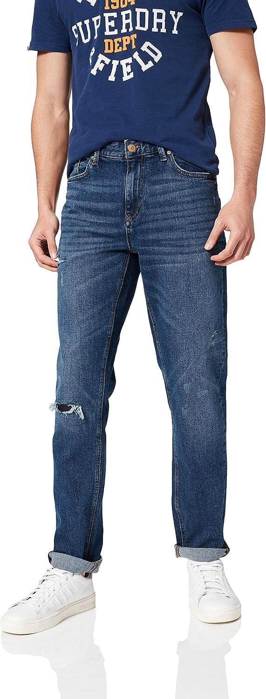 Springfield Denim Slim Lavado Medio-Oscuro con Rotos. Pantalones para Hombre