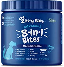 Zesty Paws No Grain Senior Advanced Multifunctional for Dogs – Glucosamine & Chondroitin for Hip & Joint Support - Psyllium for Gut & Immune Health – Fish Oil, Antioxidants for Skin, Heart & Brain